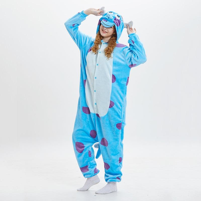 Kigurumis Sullivan Women Pajama Suit Onesie Sulley Animal Sleepwear Homewear Blue Cattle Adult Funny Cartoon Flannel Soft Pijama 1