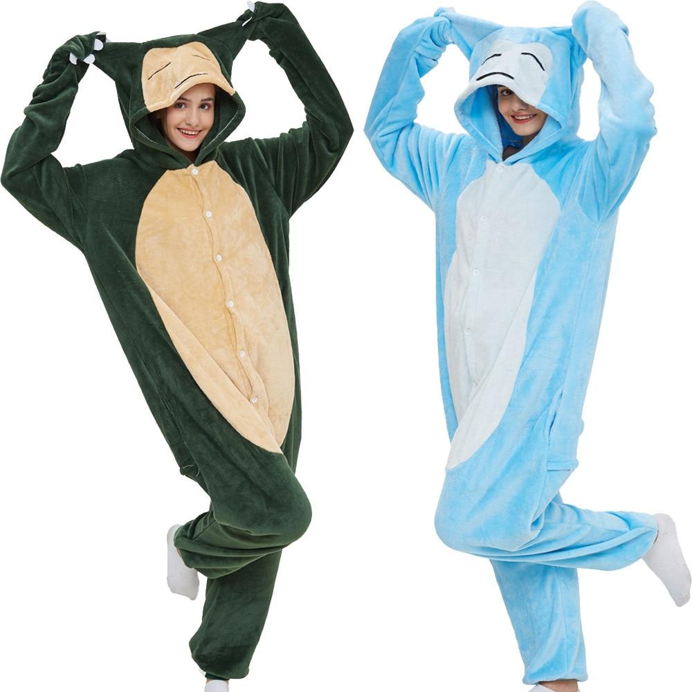 New Arrive Snorlax Women Pajama Suit Kigurumis Animal Adult Flannel Onepiece Sleepwear Pyjamas Fantasias Party Homewear Costume 1