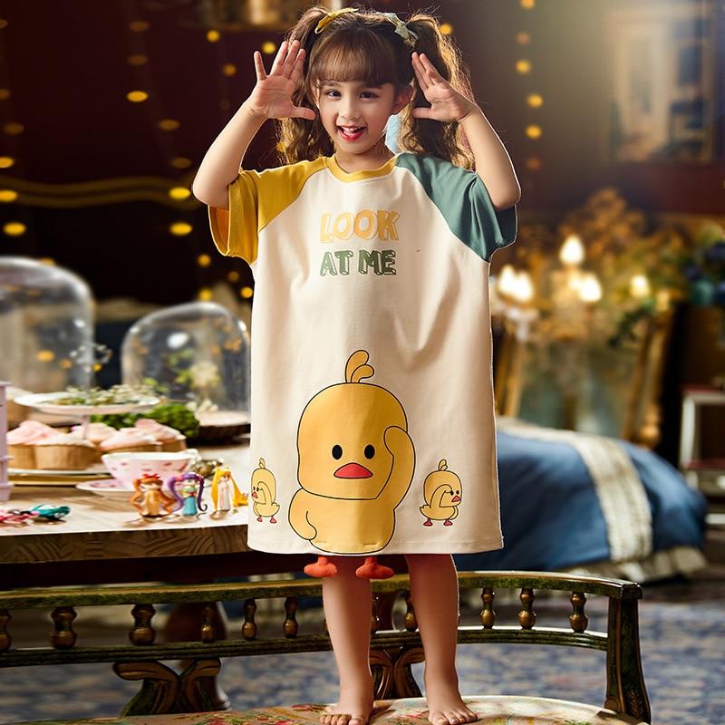 Summer Children Nightdress Sleepwear Dress Cartoon Cute Chick Printing Girls Nightgown Dressing Gown Child Loose Soft Leisure 4