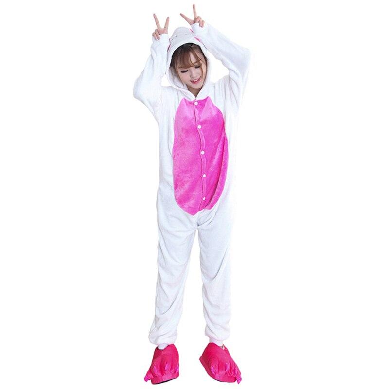 Kigurumis Women Pajamas Onesies Kawaii Rabbit Flannel Homewear One Piece carnival Sleepwear Clothing Pajama Party Costume 2