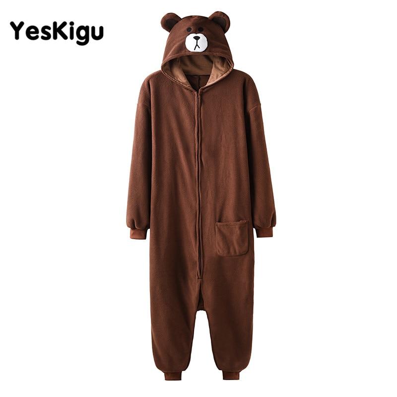 Animal Kigurumis Women Men Pajamas Adult Cartoon Bear Zipper Polar Fleece Winter Warm Sleepwear Jumpsuits Onesie Pyjamas XXL 1