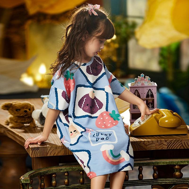 Summer Children Nightdress Sleepwear Cartoon Cute Bear Soft LeisureWear Girls Nightgown Dressing Gown Dress Child Loose Dress 4