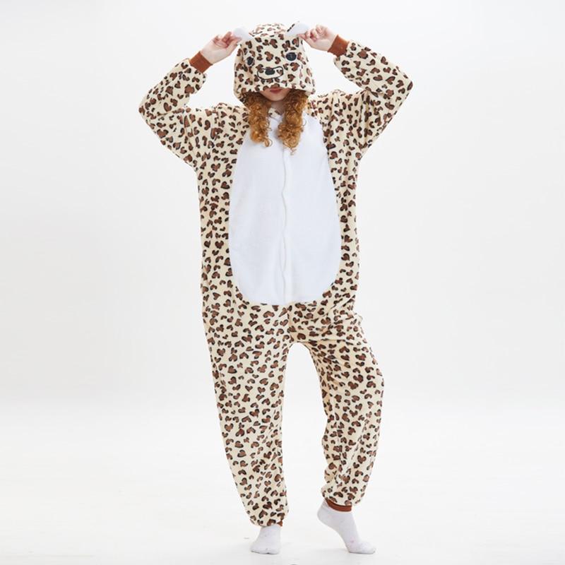 Leopard bear Animal Women Pajama Suit Onesie Kigurumis Homewear Sleepwear Flannel Soft One Piece Unisex Pijamas Party Costume 1