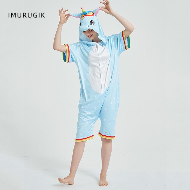 Rainbow Unicorn Kigurumis Women Onesie Cosplay Short Sleeve Animal Jumpsuits Pegasus Girl Pajama Funny Cute HomeWear Costume 1