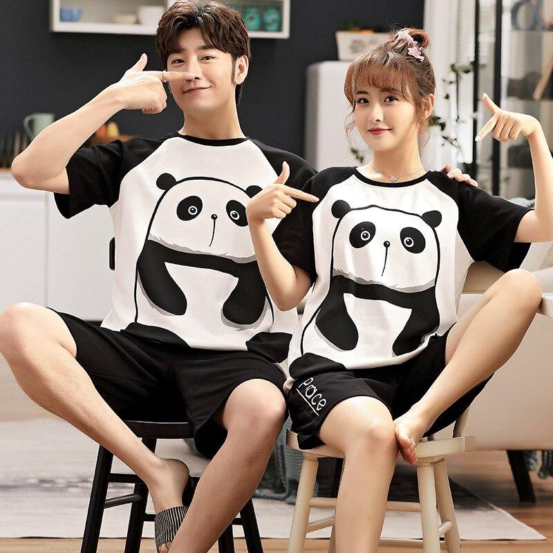 Summer Couples Pajamas Sets Women Men Pyjamas Cute Panda Sleepwear Pijamas Cartoon Bear Femme Loose Lovers Boy Girl Pijamas Suit 1