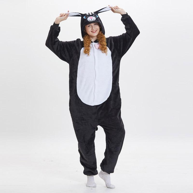 Kigurumis Women Pajama Suit Onesie Black Cat Animal Homewear Adult Flannel Soft  Winter Pijamas Party Sleepwear Costume 1