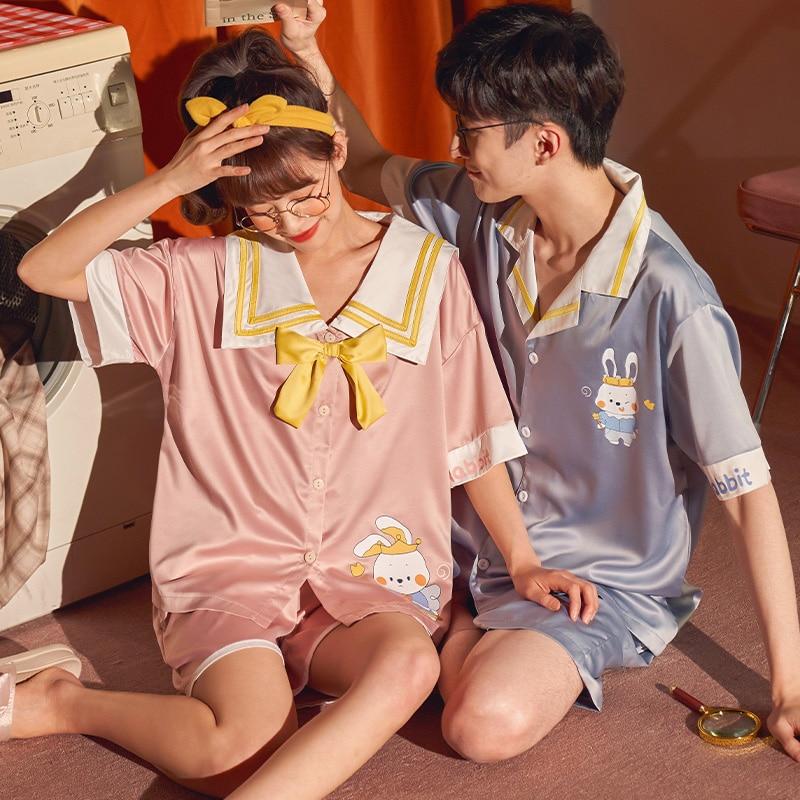 Summer Couples Pajamas Sets Women Men Sleepwear Pyjamas IceSilk Cute Rabbit Homewear Lovers SilkCloth Pijamas 1
