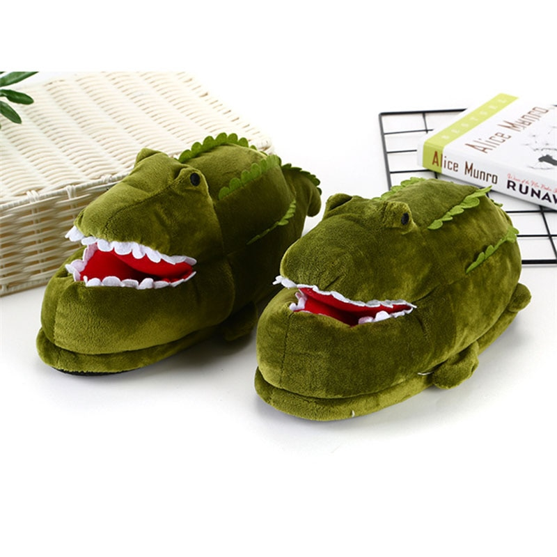 Cartoon Crocodile Slippers Adult Shoes Kigurumis Cute Girl Shoes Winter Plush Slippers Cosplay Household Shoes Women Supplies 1