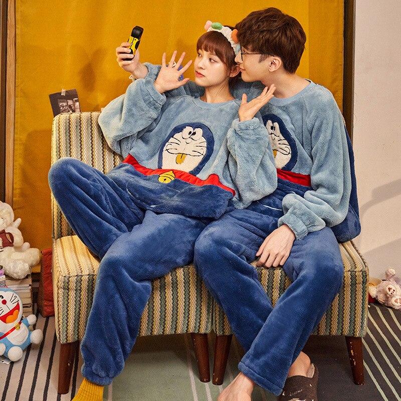 Couples pyjamas Set Cartoon Doraemon Cat Winter Thicken pyjamas women Sleepwear Homewear CoralFleece Lover pijamas Plus size 2