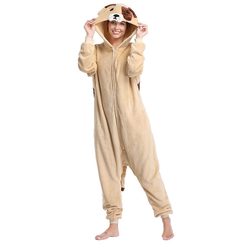 Animal pug Kigurumis Women Pajamas Onesies Flannel One Piece Homewear Clothing Sleepwear Pajama Party Costume 2