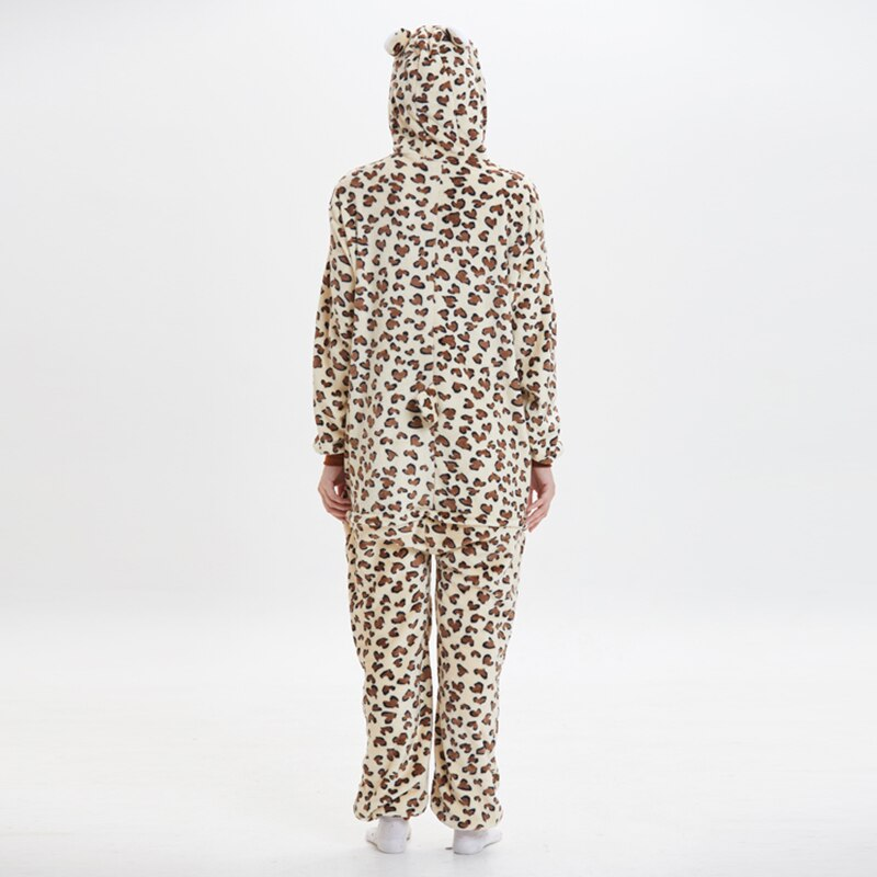 Leopard bear Animal Women Pajama Suit Onesie Kigurumis Homewear Sleepwear Flannel Soft One Piece Unisex Pijamas Party Costume 5