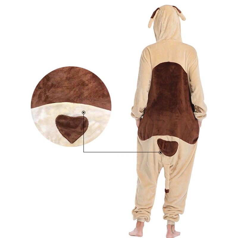 Animal pug Kigurumis Women Pajamas Onesies Flannel One Piece Homewear Clothing Sleepwear Pajama Party Costume 4