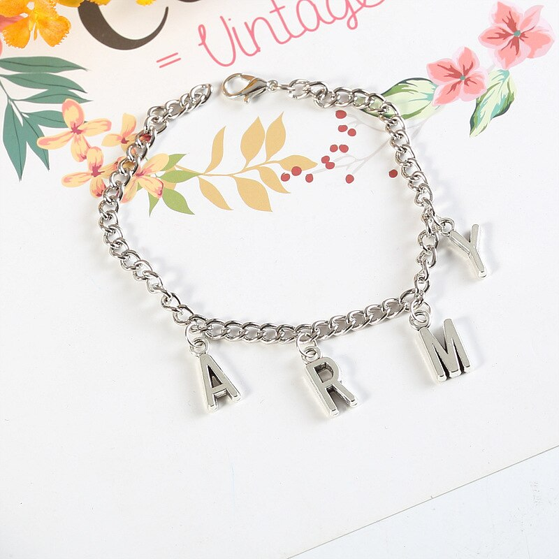 Korean Style Fashion Initial Hand Bracelet Jimin ARMY Letter Bracelets for Women Men Kpop girls Boys Jewelry Birthday Gifts 3