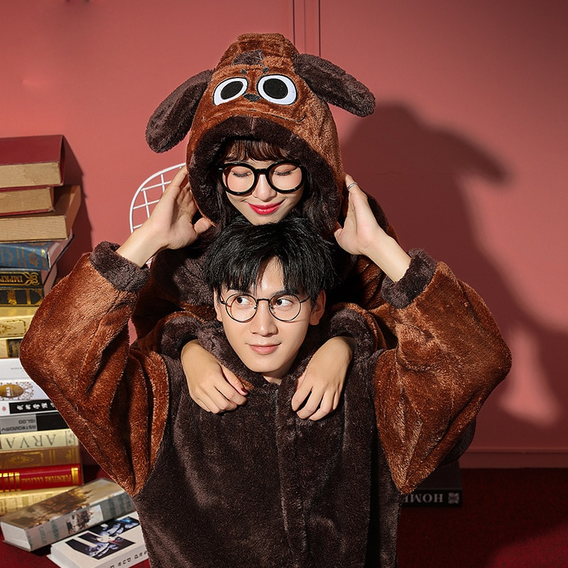 Couples Pajamas  Jumpsuits Winter Thicken Pyjamas Women Men Cartoon Dog  Sleepwear Homewear SoftWarm Pijamas Onesie Plus Size 1