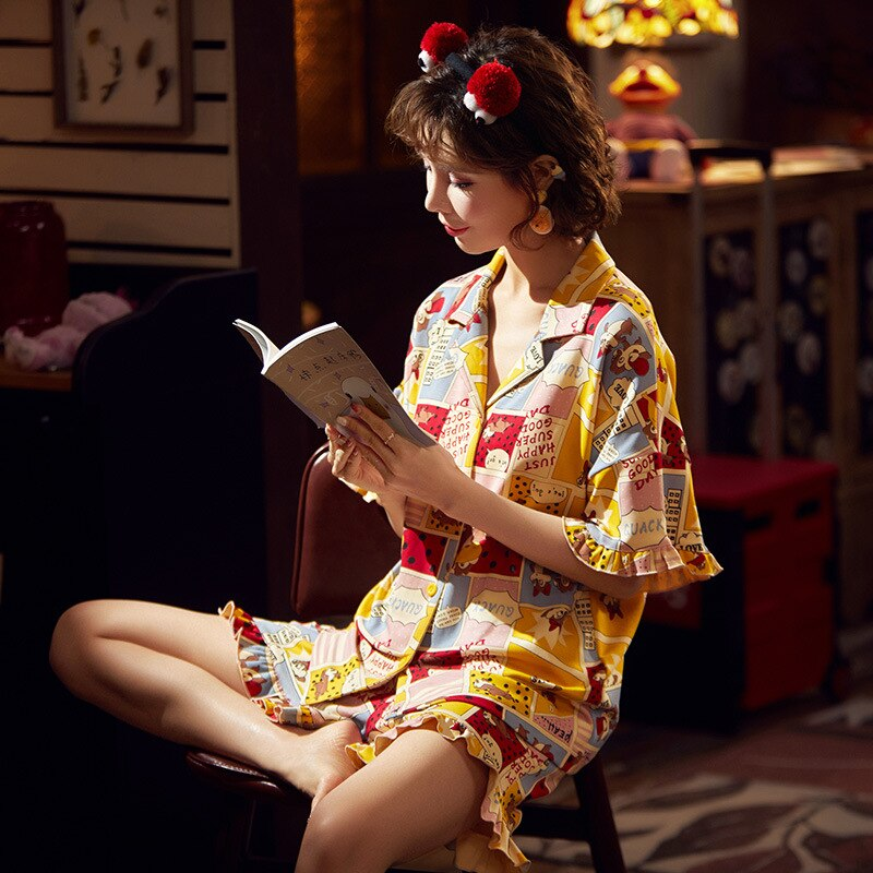 Couple Pijamas Mujer Korean  Cute Squirrel Short Sleeve Pyjamas Women Sleepwear Men Nightwear Lovers Pajamas Homewear XXXL 3