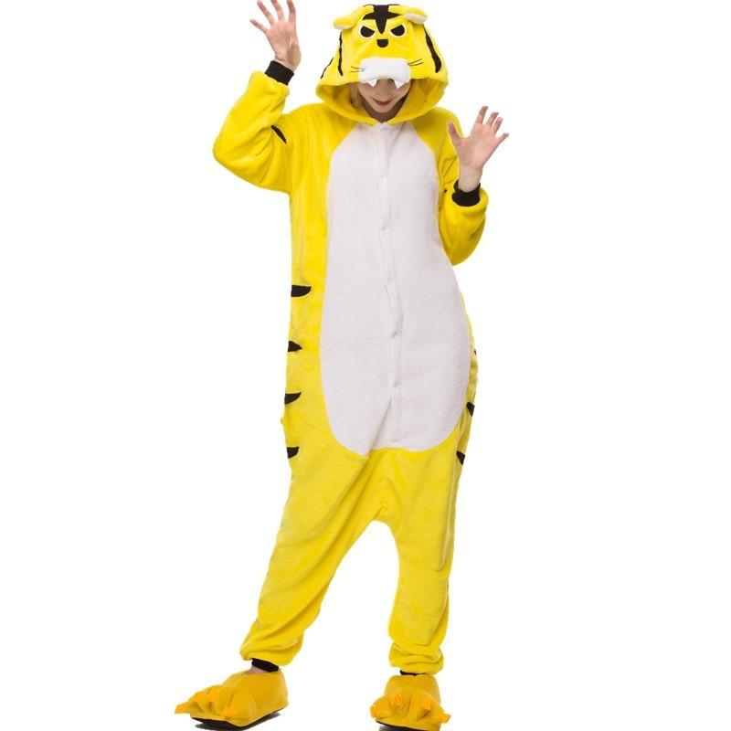 Kigurumis Onesies Sleepwear for Adult Cartoon Funny Tiger Pajama Suit Women Onesie Button Winter Homewear Jumpsuit Onepiece 1