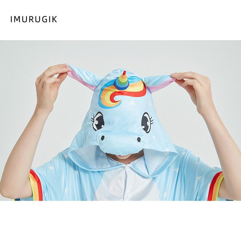 Rainbow Unicorn Kigurumis Women Onesie Cosplay Short Sleeve Animal Jumpsuits Pegasus Girl Pajama Funny Cute HomeWear Costume 6