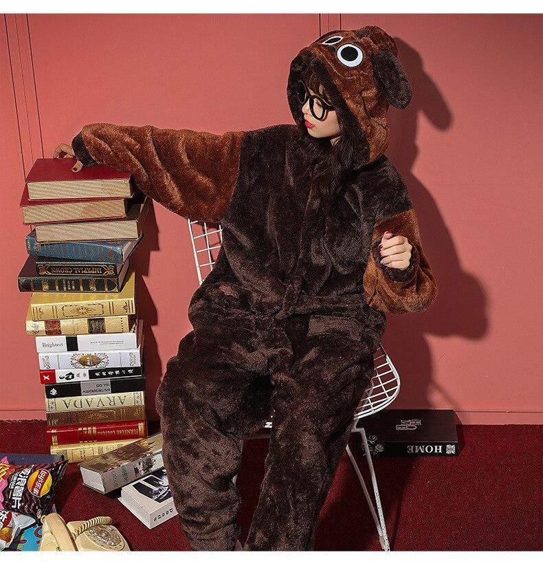 Couples Pajamas  Jumpsuits Winter Thicken Pyjamas Women Men Cartoon Dog  Sleepwear Homewear SoftWarm Pijamas Onesie Plus Size 7
