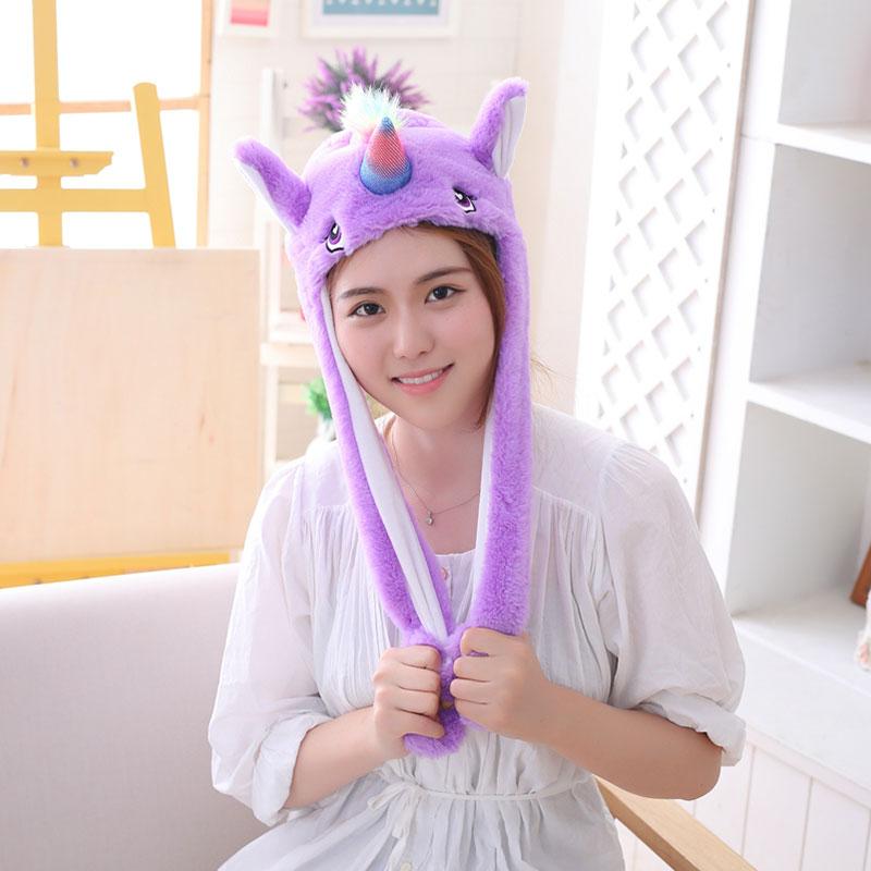 Unicorn Hat Ears Waggle Cute Funny Headgear Women Men Winter Warm Headwear Animal Cosplay Prop 1