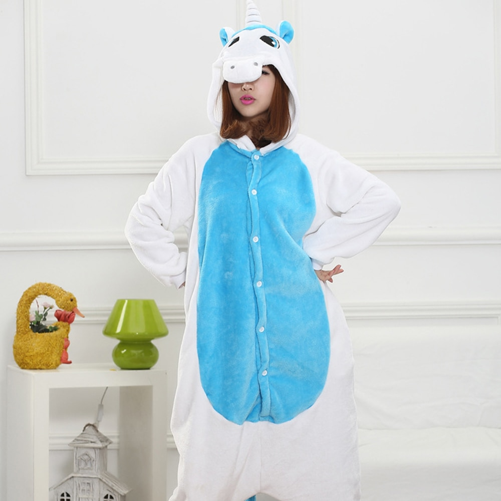 Blue White Unicorn Kigurumis Unisex Pajama Women Girl Adult Sleepwear Flannel Warm Home Jumpsuit Animal Funny Cute Onepiece Suit 1