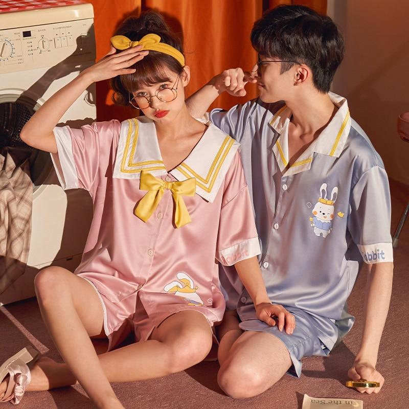 Summer Couples Pajamas Sets Women Men Sleepwear Pyjamas IceSilk Cute Rabbit Homewear Lovers SilkCloth Pijamas 3