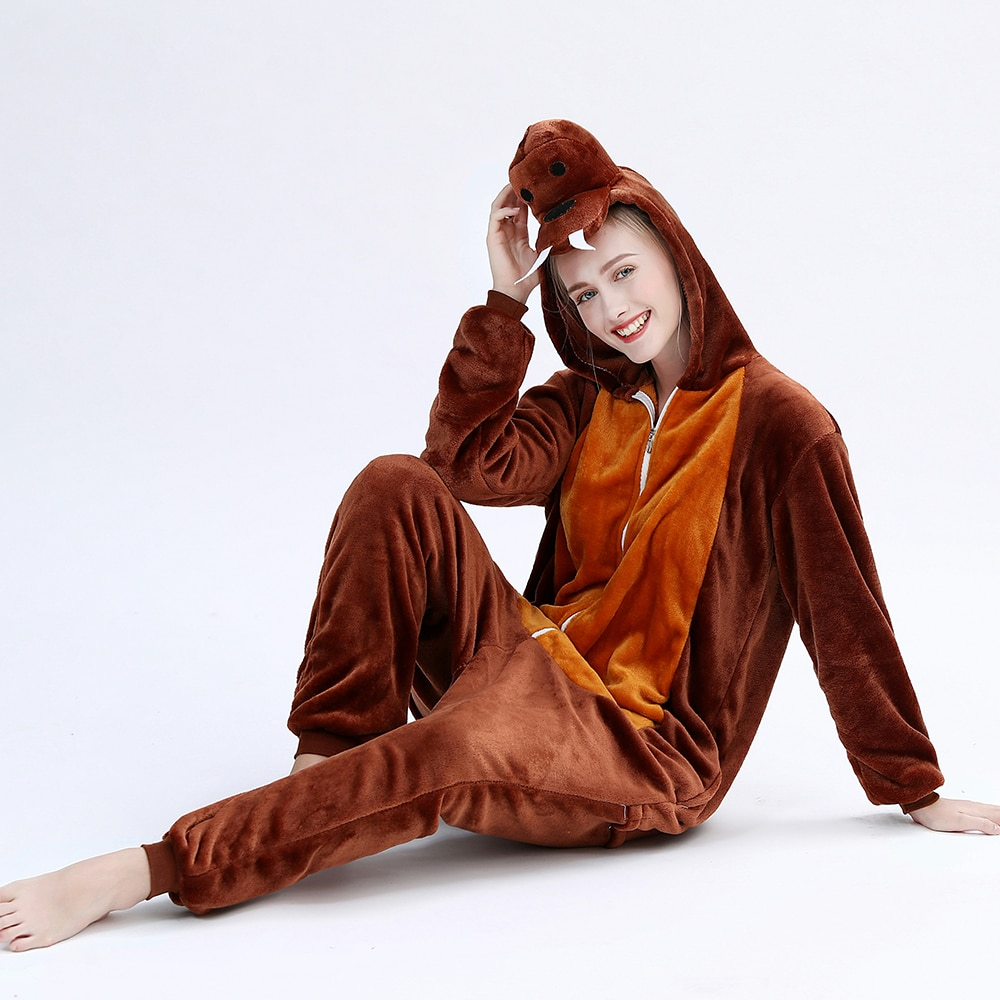 New Animals Adult Kigurumis Onesie Sleepwear Cartoon Walrus Onesies Flannel Nightgown Women Pajamas Jumpsuit Homewear Costume 1