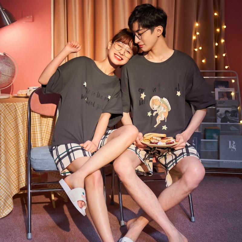 Couples Pajamas Set Women Men Cartoon Dog Printing Pyjamas Sleepwear Summer  LooseKorean Pijama Femme Nightgowns Plus Size 2