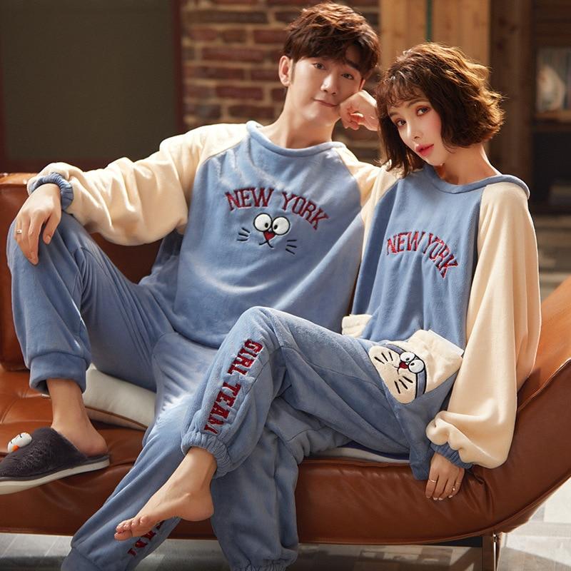 Couples Pyjamas Sets Women Men Cartoon Doraemon Cat Sleepwear Winter Thicken Pyjamas Adult  Homewear Lovers CoralFleece Pijamas 1