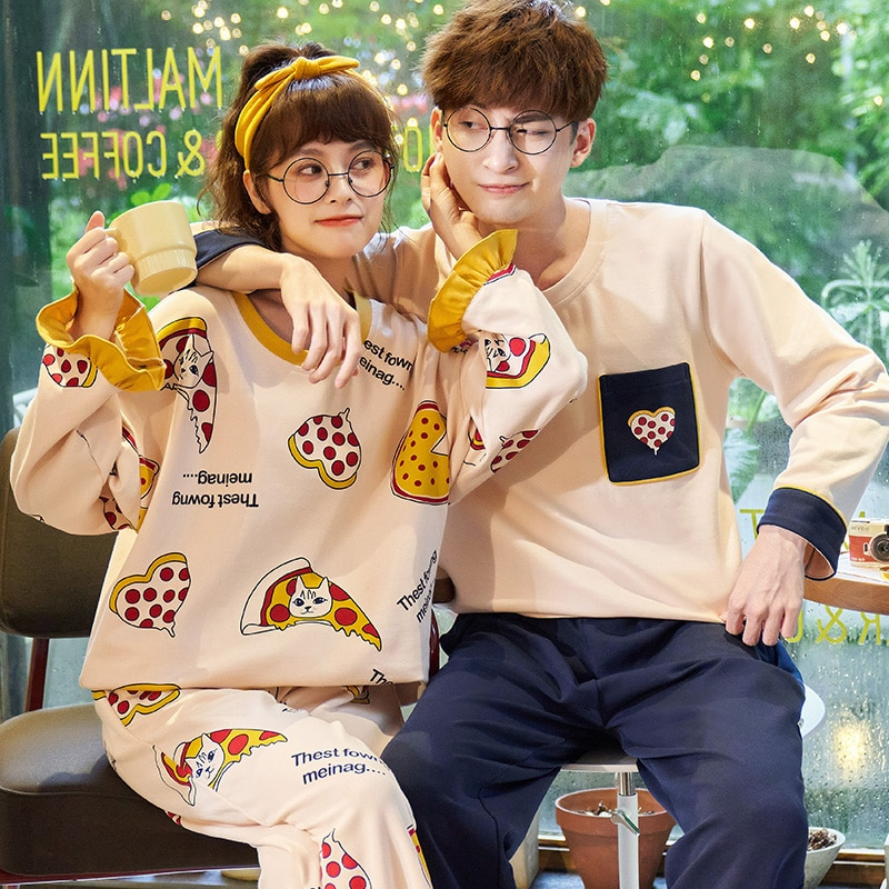 2021 Couple Pajamas Set Cute Cartoon Printing Sleepwear Long Sleeve Homewear Pyjamas Women Men Lovers Pajamas Round collar Suit 1