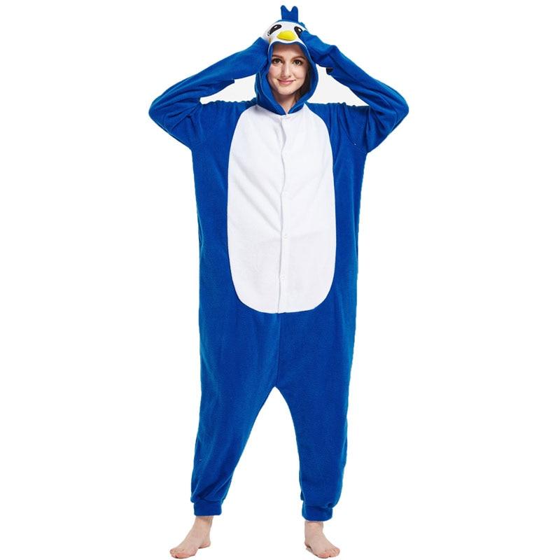 Blue Penguin Women pajamas onesie Kigurumis Sleepwear Witner Nightie Homewear Funny Cute Jumpsuits For Sleep Unisex Clothing 1