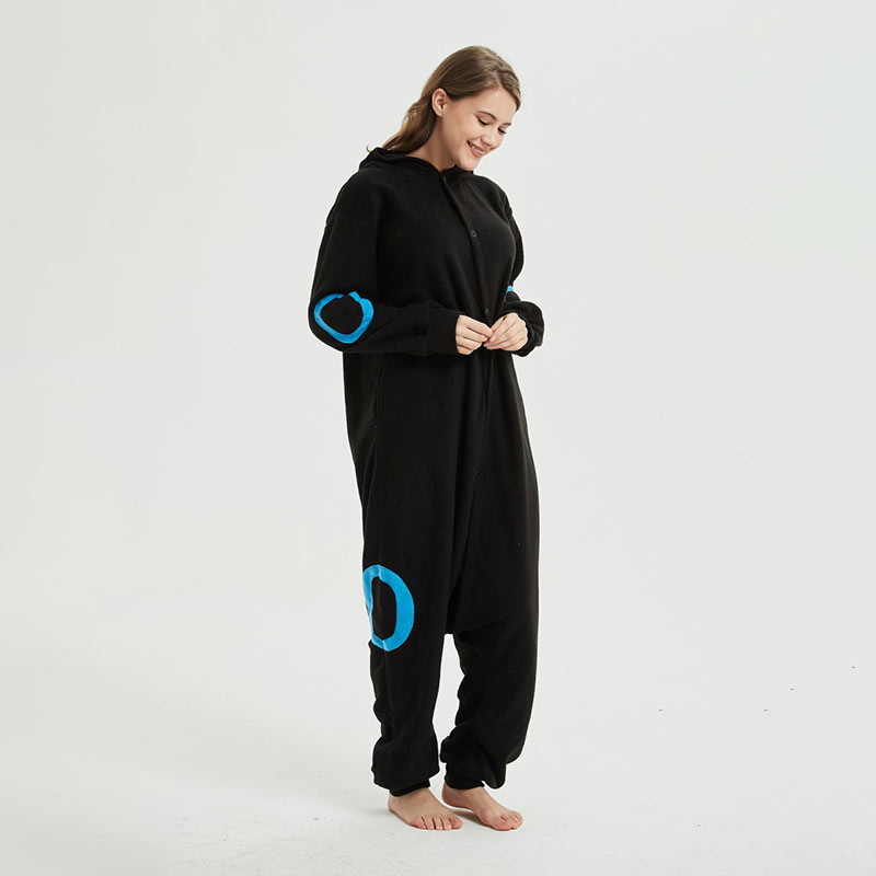 Blue Black  Kigurumis Anime Cartoon Pajama for Adult Unisex Couple Onesie Polar Fleece Outfit Warm Sleepwear Cute Suit 2