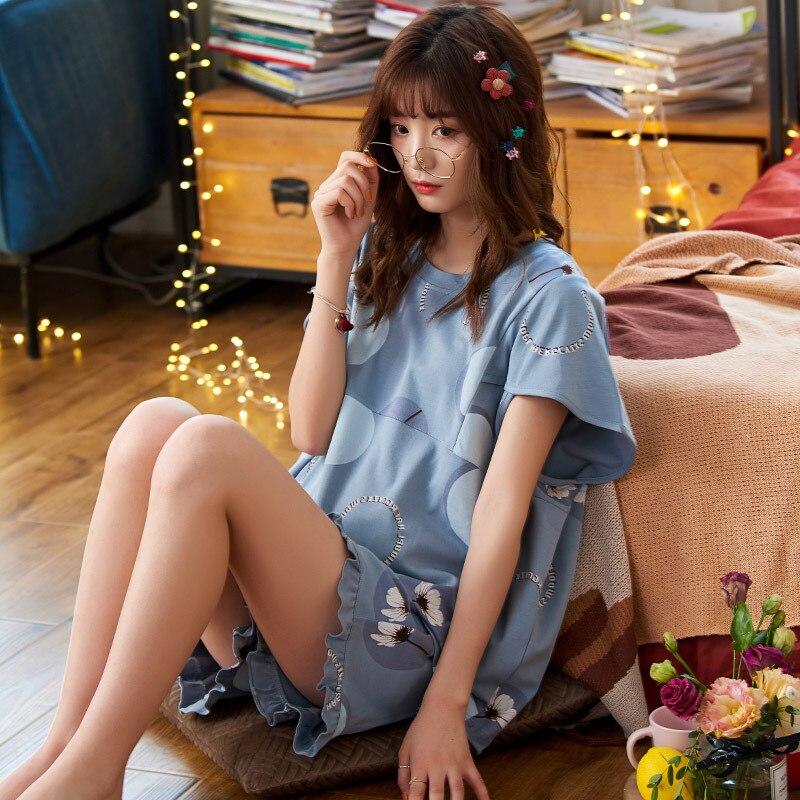 2PCS Women Pijama Casual Nightclothes Cotton Cartoon Flowers Pyjamas Girl Sleepwear Home wear Pajama Shorts Femme Plus Size 3