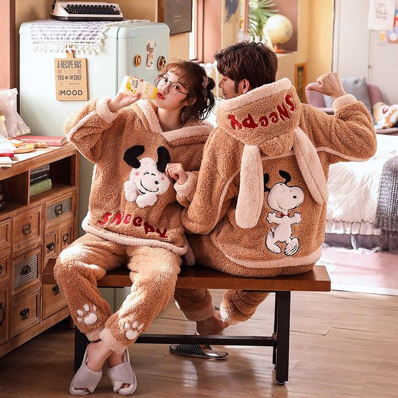Couple Pajamas Set Winter Thicken Pijamas suit Cartoon Sheep Hooded Home wear Cute Pijama Two Piece Suit Pijamas Lovers Pyjama 3