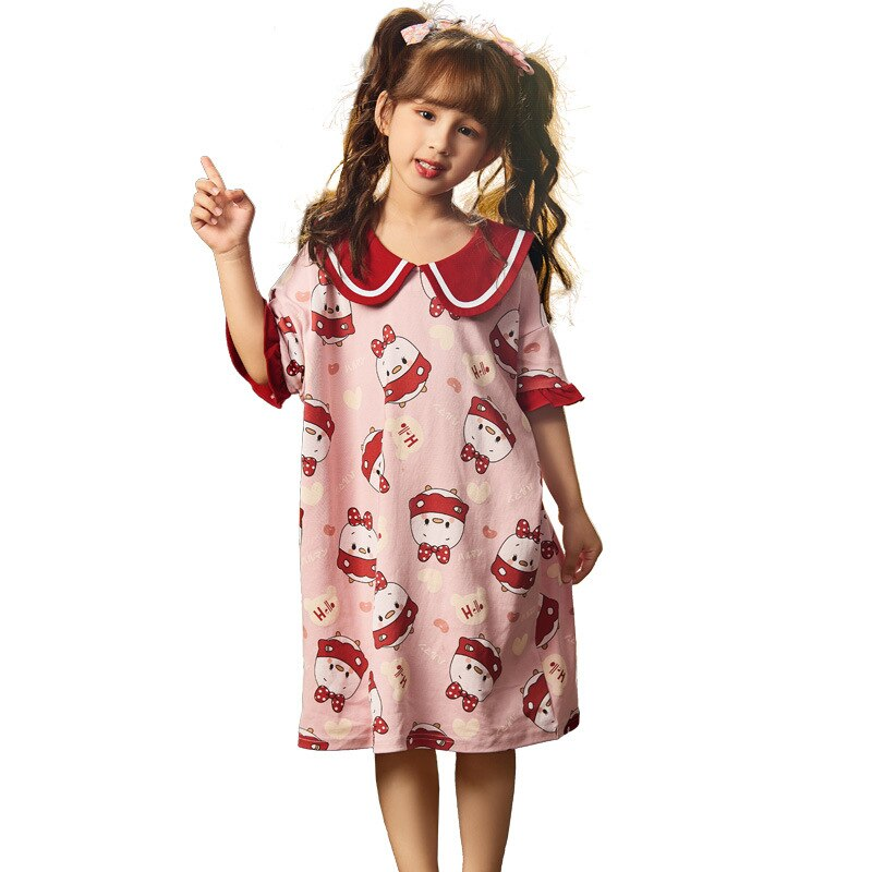Summer Children Nightdress Sleepwear Soft LeisureWear Cartoon Cute Chick Printing Girls Nightgown Dressing Gown Dress Child 5
