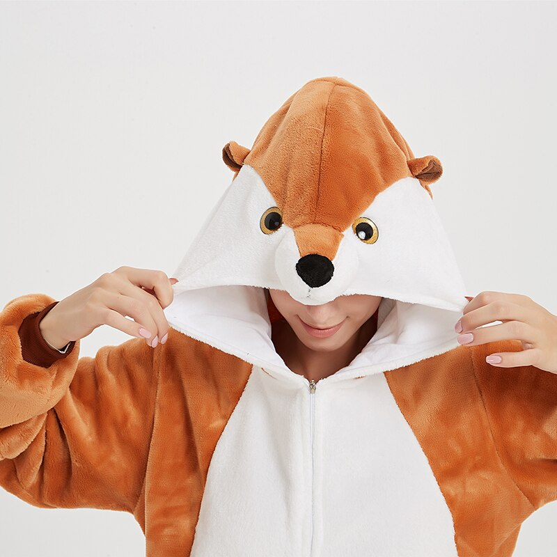 Animal Women Pajamas Suit Kigurumis Fox One Piece Adult Flannel Soft Sleepwear Homewear Festival Party Costume 4