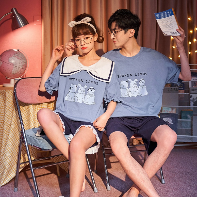 Couples Pajamas Set Women Men Cartoon Korean Pyjamas Sleepwear Summer Short Sleeve Pijama Suit Femme Nightgowns Nightwear XXXL 1