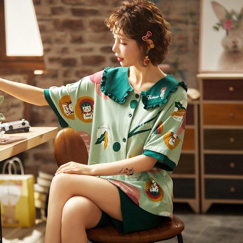 Summer Women Pijama Night Sleepwear Clothes Pajama Sets Girl Cotton Nightgown Pajamas Set Korean HomeWear Shorts Femme Plus Size 1