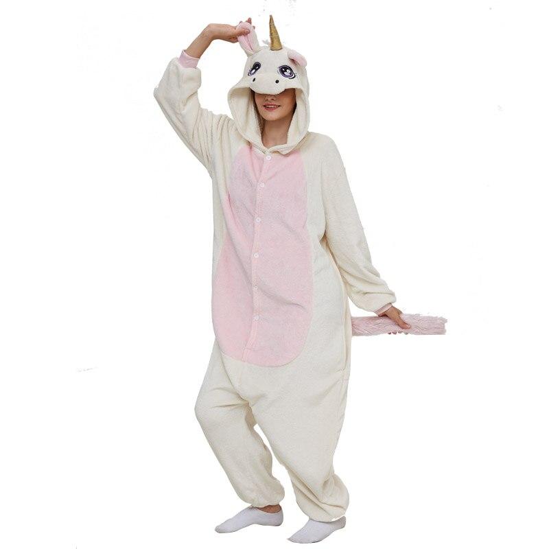 Golden Unicorn women pajama suit Adult Animal kigurumis Night Sleepwear winter Warm Homewear onepiece Party Cosplay Costume 5