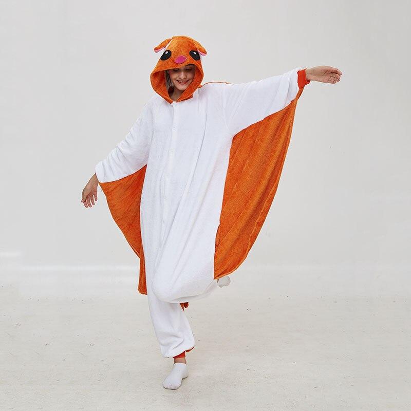 Kigurumis Women Pajama Animal Flying Rat Onepiece Men Adult Flannel Winter Sleepwear Wings Cosplay Funny Homewear Costume Appare 2