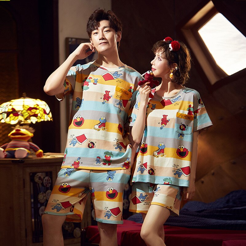 Cotton Couple Pajamas Set Short Sleeve Cartoon ELMO Pyjamas Summer Homewear Sleepwear Pijama Femme Nightgowns Nightwear XXXL 4