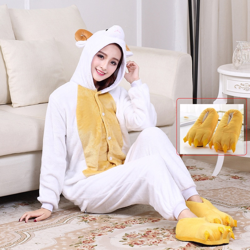 Animal Kigurumis Onesies For Adults Women Sheep Cartoon Sleepwear Homewear Witner Overalls Party Carnival Festival Clothing 1