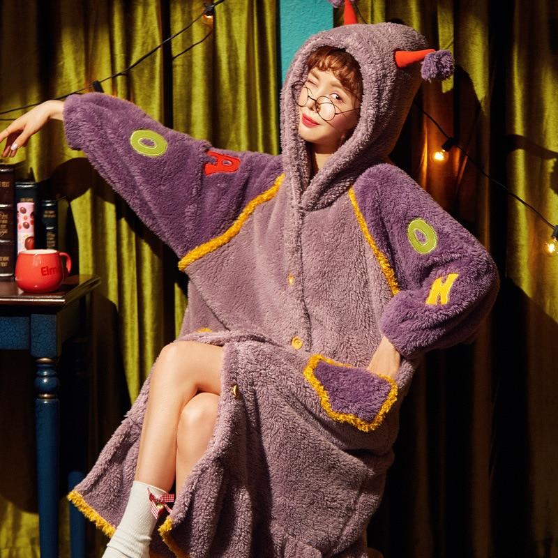 Thicken Night-robe Women Coral Fleece Nightdress Cute Cartoon Hooded bath robe Home wear Pijama Warm Bathrobe LargeSize 1