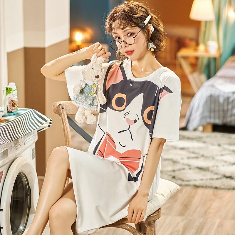 Women Pajamas Nightdress Korean Cartoon Cat Sleepshirts ShortSleeve Summer Lingerie Cute Girl Loose Pajama Pyjamas 1