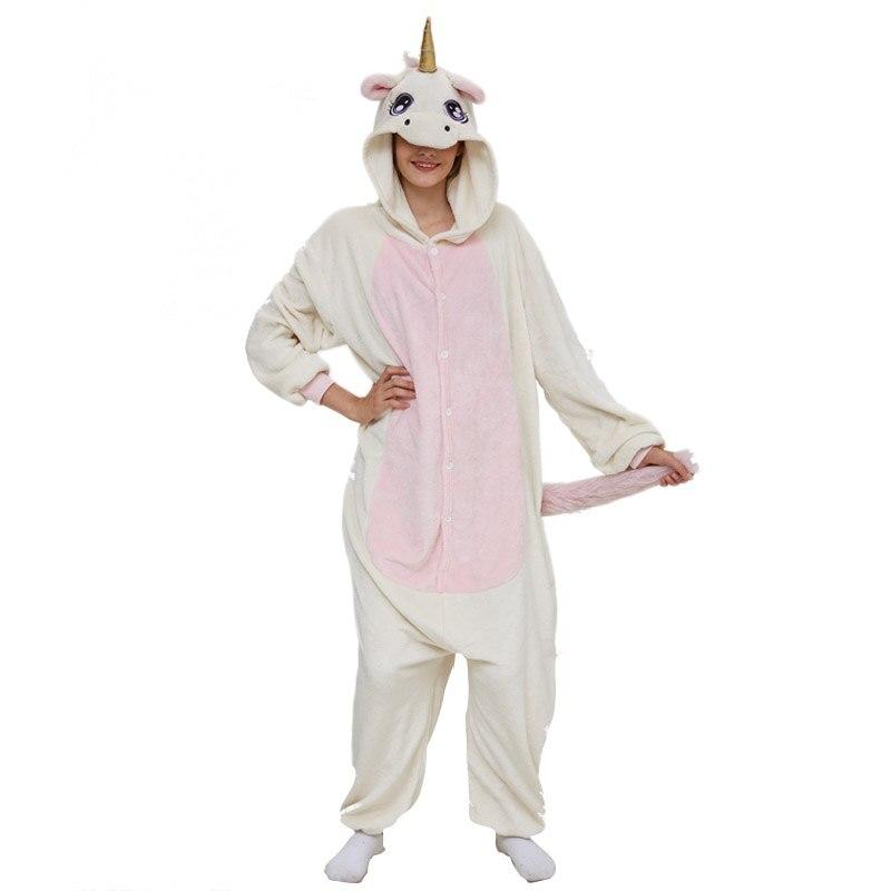 Golden Unicorn women pajama suit Adult Animal kigurumis Night Sleepwear winter Warm Homewear onepiece Party Cosplay Costume 2