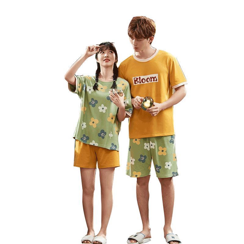 Summer Couples Pajamas Sleepwear Women Men Cotton Pyjamas Flower Printing Homewear Lovers Nightgowns Shorts Korean Pajama Sets 5