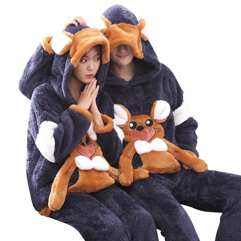 Couples Pajamas Set Hoodie Winter Flannel Pyjamas Women Men Thicken Sleepwear Animal Mouse Warm Festival Pijama Homewear 2PCS 5