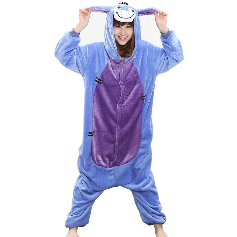 Cartoon Women Pajamas Onesie Animal Donkey Kigurumis Sleepwear Funny Cute Home Jumpsuit Winter Pyjamas Warm Clothes  Overall 5