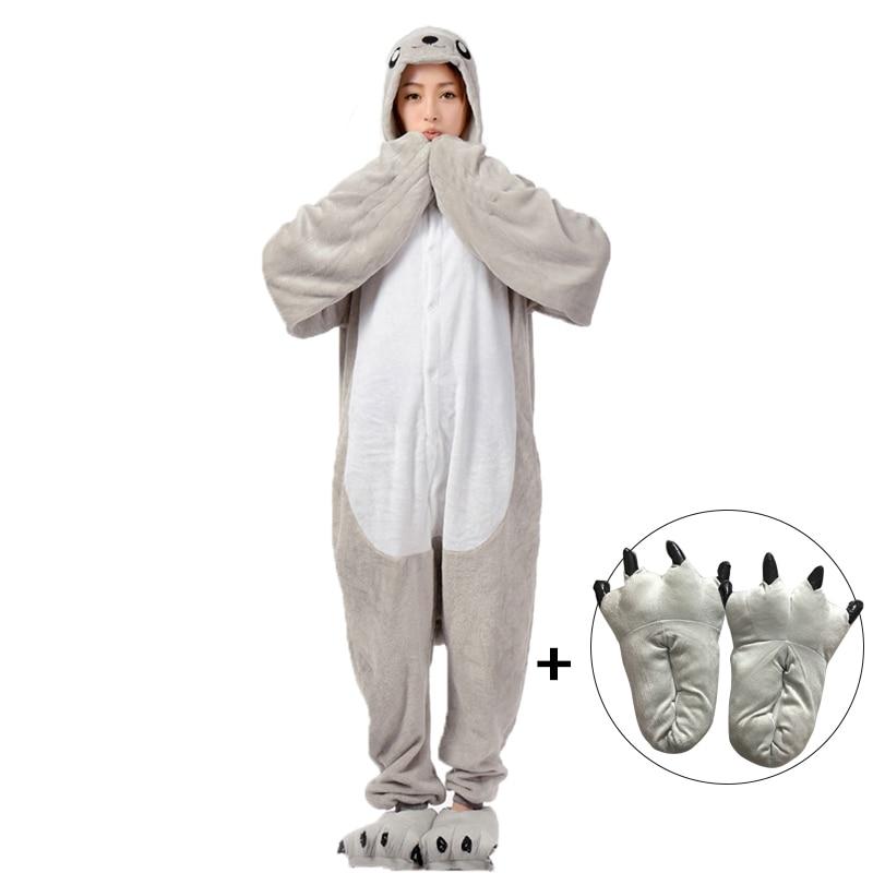 Kigurumis Animal Onesies Homewear Women Pajame Cute Sea lions  Witner Flannel Sleepwear Onesie Cartoon Sleep Unisex Clothing 1