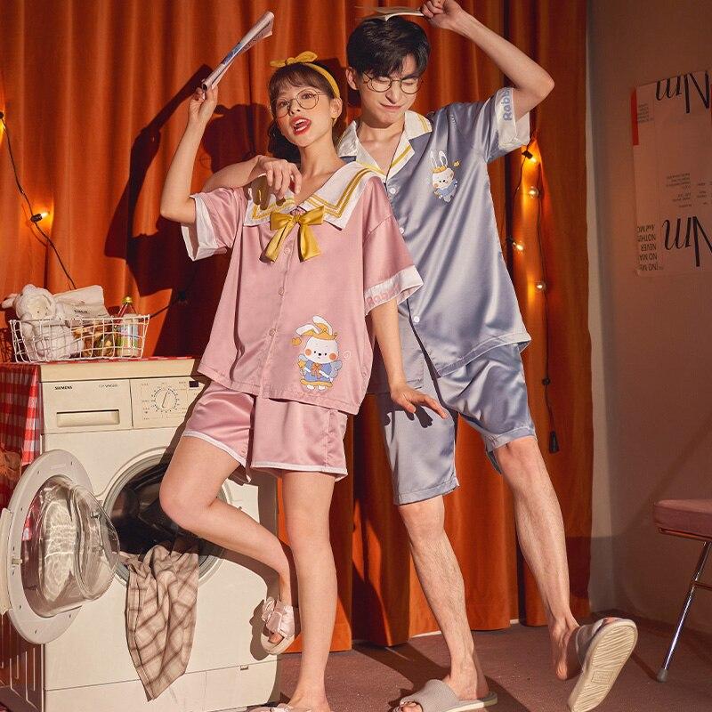 Summer Couples Pajamas Sets Women Men Sleepwear Pyjamas IceSilk Cute Rabbit Homewear Lovers SilkCloth Pijamas 5