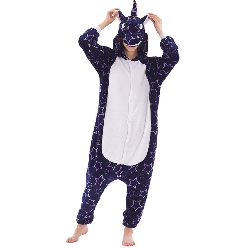 Unicorn Women Pajama Onesie kigurumis Galaxy Pegasus Unisex Adult Sleepwear Flannel Homewear Onepiece Pajama Suit Party Costume 1
